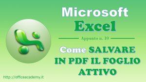 #Excel - Come salvare rapidamente in PDF il foglio attivo [VBA] 2