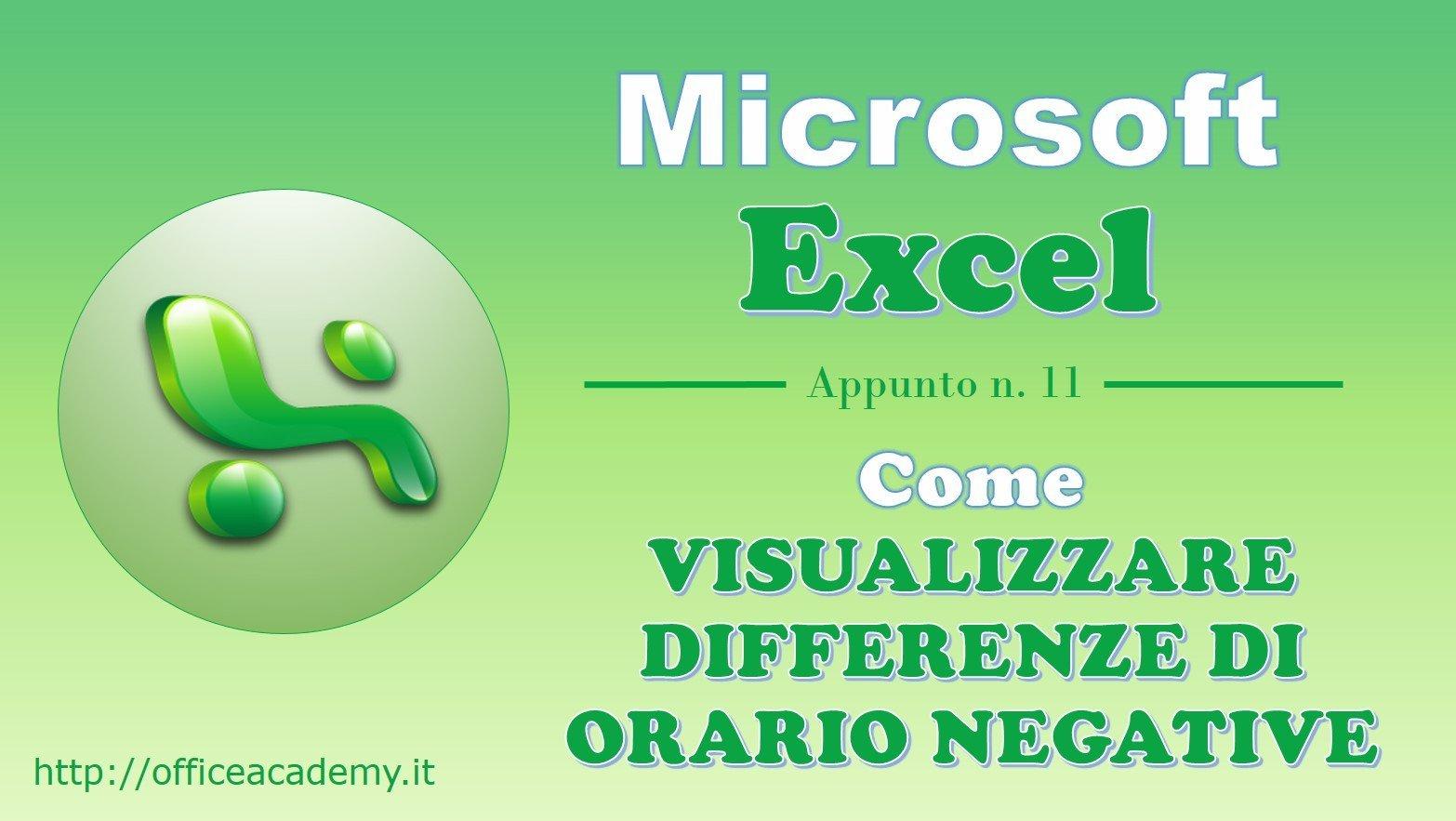 #Excel - Come visualizzare differenze di orario negative 1