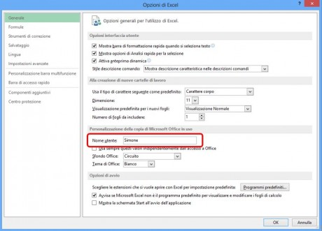 Come modificare il nome utente di Excel