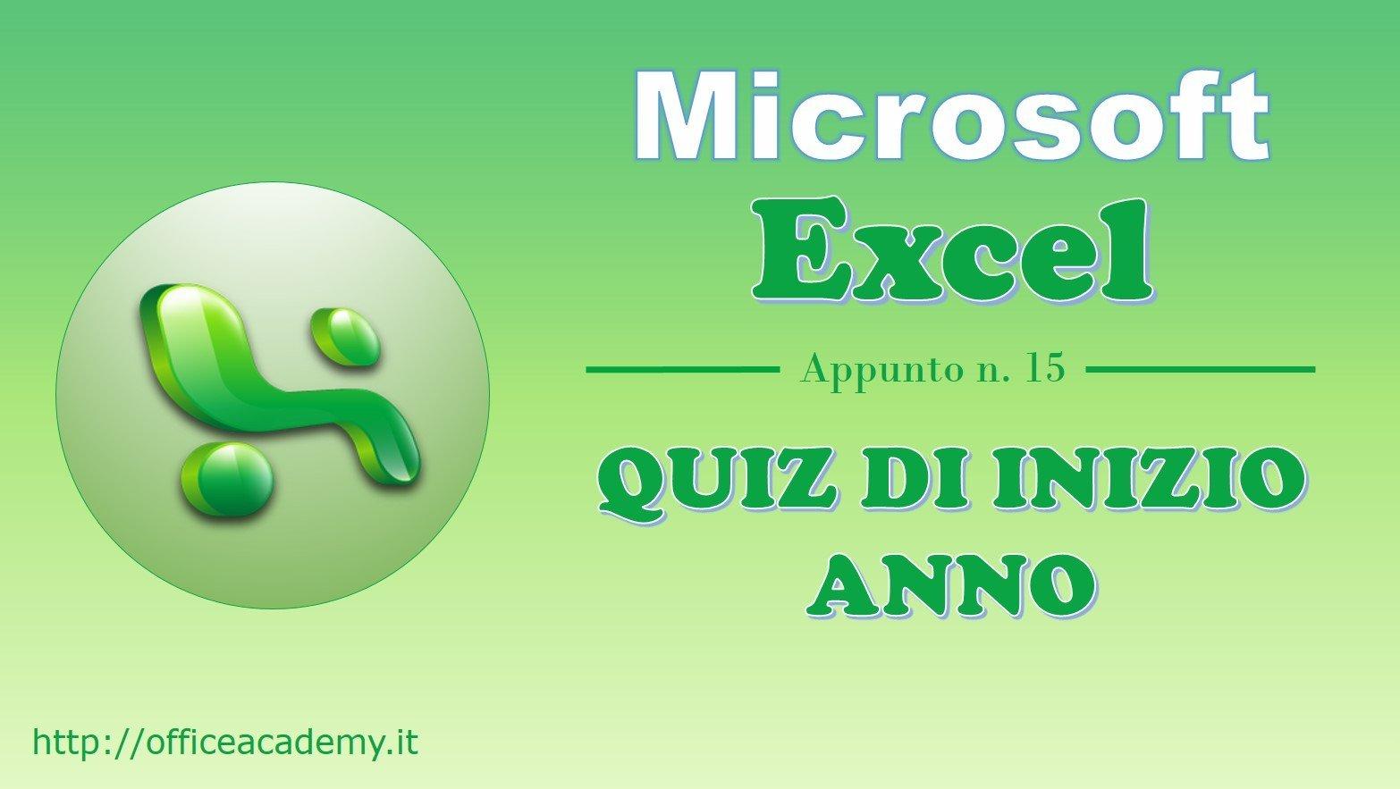 #Excel - Quiz di inizio anno 2