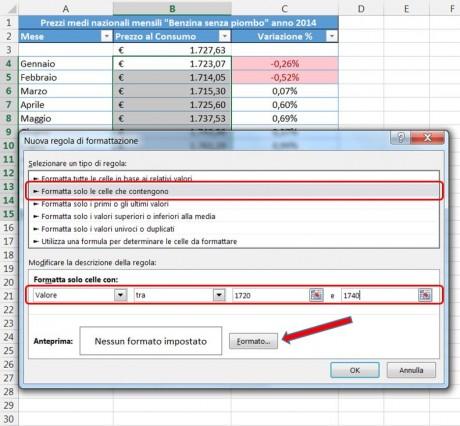 Selezionate il tipo di regola di formattazione e specificate i valori