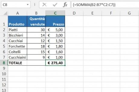 Con formule matriciali