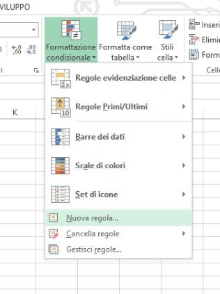 Creare una nuova regola di formattazione condizionale usando una formula