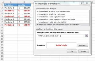 Formula per evidenziare i valori duplicati compresa la prima occorrenza