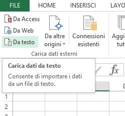 Importare dati usando la procedura guidata di Excel