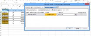 Regola di formattazione di Excel basata sul valore di una altra cella