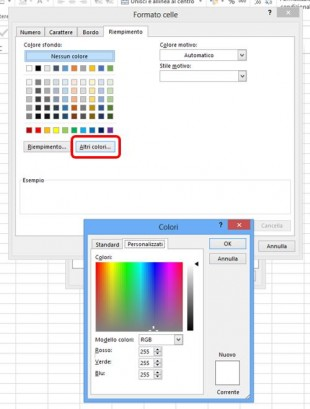 Scorrete le schede Carattere Bordo e Riempimento e impostate il formato personalizzato