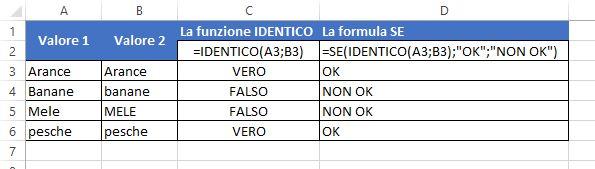Usare la funzione IDENTICO nel confronto esatto di stringhe di testo