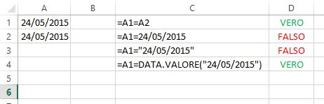 Usare operatore logico Uguale a con le date