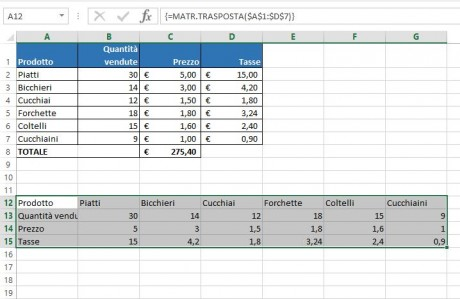 Usare una funzione matriciale in Excel