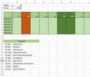 Formule di formattazione condizionale per evidenziare le festivita