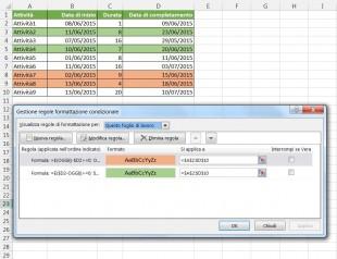 Regole di formattazione condizionale per evidenziare scadenze e ritardi