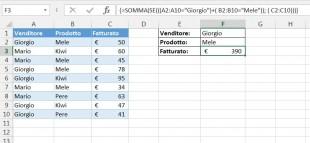 Una formula matriciale con operatore O