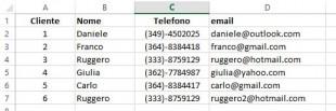 Elenco di clienti in Excel