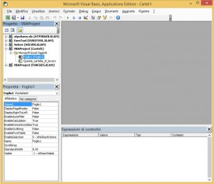 La finestra del Visual Basic Editor di Excel