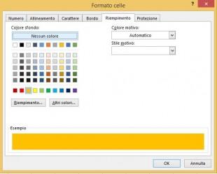 Cambiate il colore di riempimento con la finestra di dialogo Formato celle