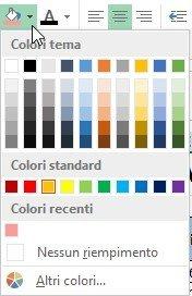 Impostare il colore di riempimento con il pulsante Colore riempimento
