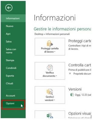 Cliccate su Opzioni nel menu FILE per visualizzare la finestra di dialogo Opzioni
