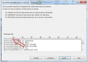 Impostate l'interruzione agendo sulla sezione di anteprima dati