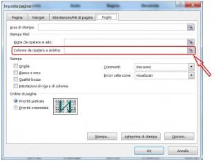 Usate il pulsante Comprimi finestra per selezionare le colonne da ripetere a sinistra