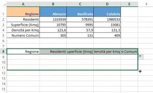 Copiate la formula nell'intervallo di celle in cui volete far apparire i dati trasposti