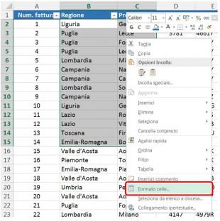 Cliccate sull'opzione Formato celle dal menu contestuale per aprire la finestra di dialogo Formato celle
