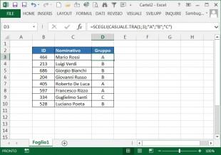 Raggruppare dati in modo casuale
