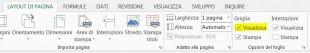 Scegliete la casella Visualizza sotto Griglia nella scheda LAYOUT DI PAGINA per visualizzare la griglia in Excel