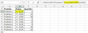 Una formula CERCA VERT per cercare in un altro foglio di lavoro