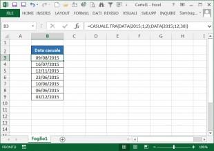 Usare la funzione CASUALE.TRA per calcolare una data casuale tra due date