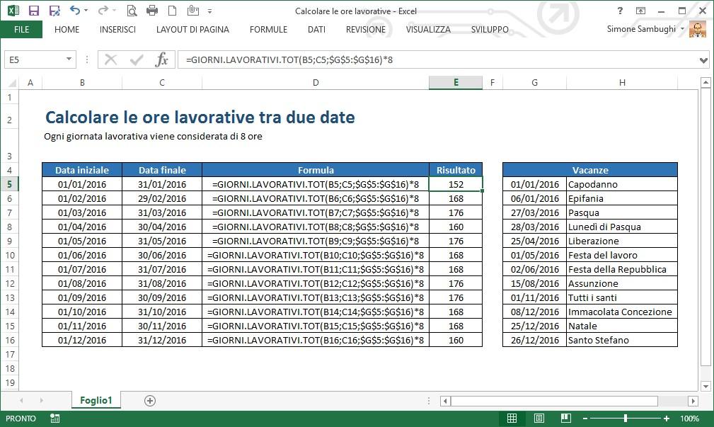 new product 3f21f 97a20 Excel - Come calcolare le ore lavorative di un mese