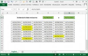 Evidenziare le date comprese tra due estremi