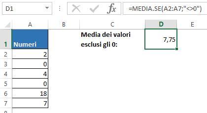 La formula MEDIA.SE per i numeri diversi da 0