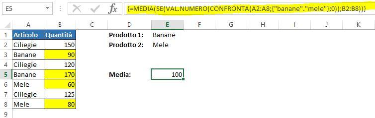 Una formula matriciale per mediare celle con logica OR