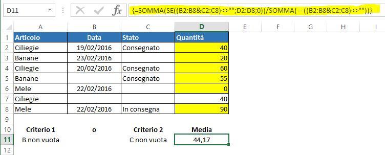 Una formula matriciale per mediare con logica OR in base a celle vuote e non vuote