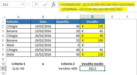 Una formula matriciale per mediare con logica OR in base a criteri numerici con operatori di confronto