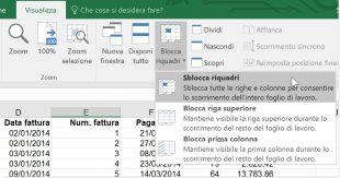 Sbloccare riquadri in Excel
