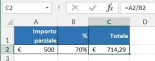 Calcolare il totale in base a importo parziale e percentuale