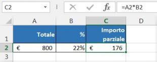 Calcolare importo parziale in base al totale e alla percentuale