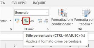 Cliccate sul pulsante Stile percentuale per mostrare numeri in percentuale in Excel