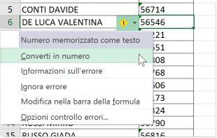 Convertire un numero formattato come testo