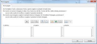 Definite la posizione dei numeri di pagina facendo clic all'interno dei box a sinistra, al centro, oppure a destra