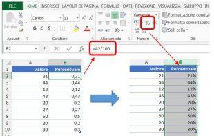 Formattare valori esistenti come percentuale in Excel