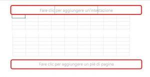 Posizionate il puntatore del mouse sul campo Fare clic per aggiungere un'intestazione oppure Fare clic per aggiungere un piè di pagina