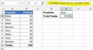 Una formula per calcolare la percentuale del totale quando i prodotti sono in righe multiple
