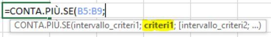 La sintassi della funzione di Excel CONTA.PIU.SE