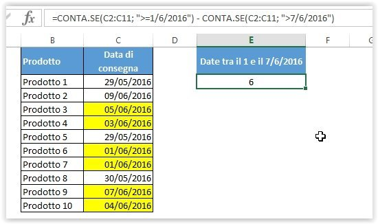 La formula CONTA.SE con due condizioni per contare le date entro un intervallo