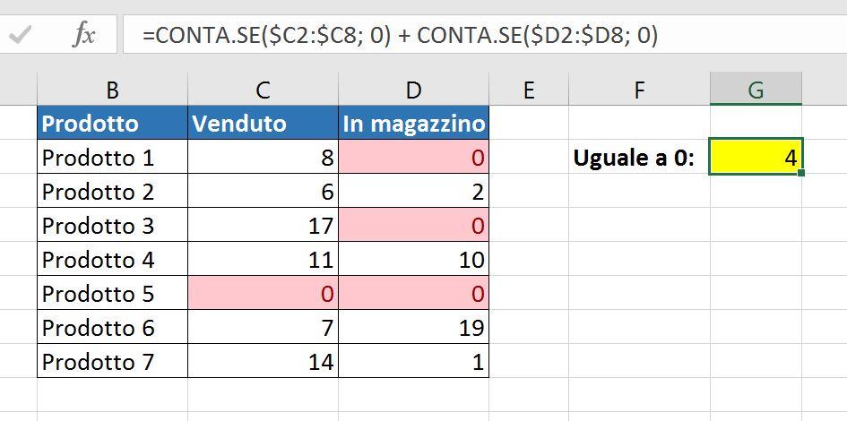Una formula CONTA.SE per contare numeri in un intervallo non contiguo