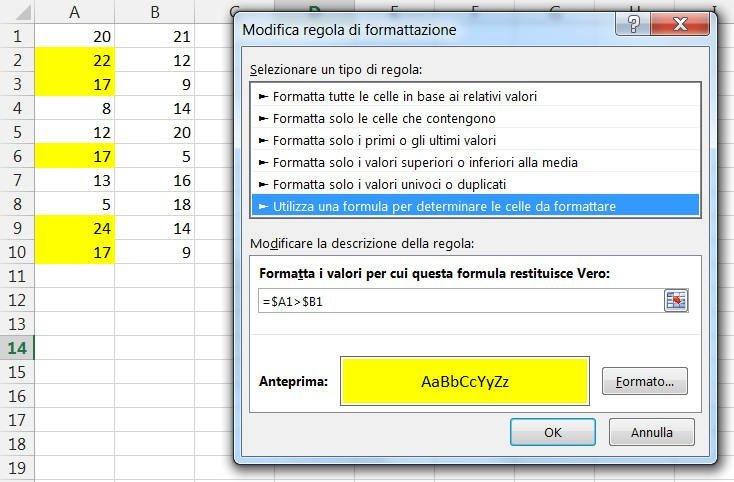 Colonna assoluta e riga relativa nei riferimenti di cella di una formattazione condizionale
