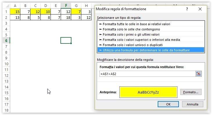 Colonna relativa e riga assoluta nella formattazione condizionale di Excel